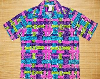 Mens Vintage 60s Sears Hawaii Trippy Mod Bark Cloth Woven Ropes Hawaiian Shirt - M - The Hana Shirt Co