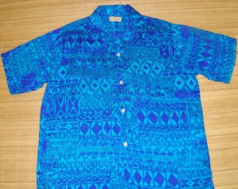 Mens Vintage 60s Ross Sutherland Tribal Tapa Hawaiian Aloha Shirt - L - The Hana Shirt Co