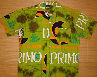 Mens Vintage 60s PRIMO BEER Hawaiian Holiday Hawaiian Aloha Shirt - M -  The Hana Shirt Co