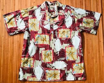 Men's Vintage Go Barefoot Reverse Print Pullover Hawaiian Shirt-LG-The Hana Shirt Co