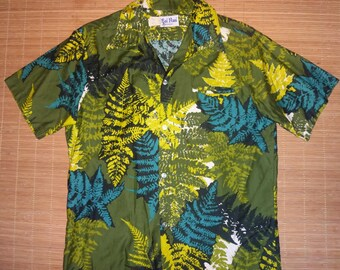 Mens Vintage 70s Kai Nani Jungle Floral Hawaiian Aloha Shirt - L - The Hana Shirt Co