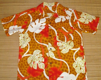 Mens Vintage 60s Barkcloth Mod Batik Hawaiian Aloha Shirt - M - The Hana Shirt Co