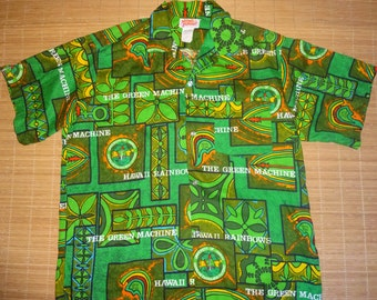Mens Vintage 70s University Of Hawaii Football Hawaiian Aloha Shirt - XL -  The Hana Shirt Co