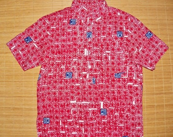 Mens Vintage 70s Iolani MOD Tribal Tapa Hawaiian Aloha Pull Over Tiki Surf Shirt - M -  The Hana Shirt Co