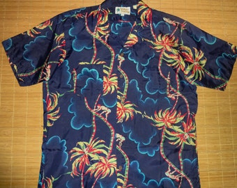 Mens Vintage 70s Waikiki Holiday Coconut Tree Climber Hawaiian Shirt - L - The Hana Shirt Co
