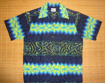 Mens Vintage 60s Margolis Neon Nights Hawaiian Aloha Shirt - S - The Hana Shirt Co