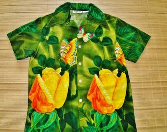 Mens Vintage 60s Heads Up Barkcloth Butterfly Hawaiian Shirt - S - The Hana Shirt Co