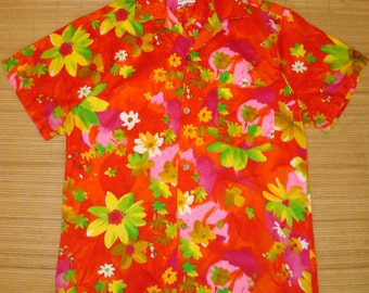 Mens Vintage 60s Neon Rave Wild Child Hawaiian Aloha Shirt - S -The Hana Shirt Co