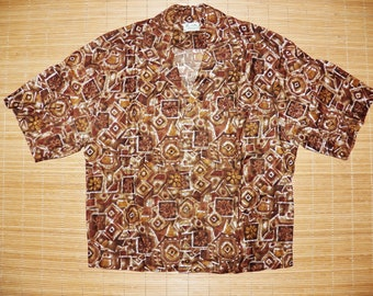 Mens Vintage 60s Hawaiiana Hawaii Rockabilly Bowling Hawaiian Tiki Hapa Jac Shirt - M - The Hana Shirt Co
