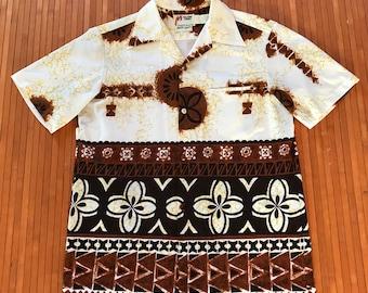 Men's Vintage 70s Malihini Hawaii Crinkle Tapa Aloha Shirt-LG-The Hana Shirt Co