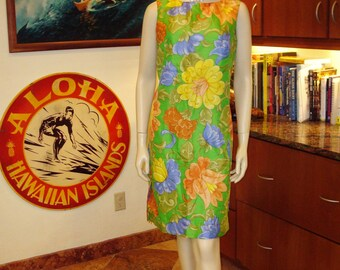 Ladies Vintage 70s Sun Fashions Flower Rockabilly Hawaiian Dress - M -  The Hana Shirt Co