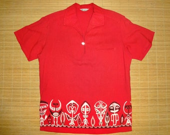 Mens Vintage 60s Lauhala Rockabilly Tiki Hawaiian Aloha Shirt - M - The Hana Shirt Co