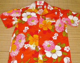 Mens Vintage 60s Pacific Isle Mod Floral Barkcloth Hawaiian Aloha Shirt - S - The Hana Shirt Co