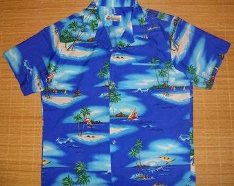 Mens Vintage 80s Shoreline Wind Surfing Hawaiian Shirt - L - The Hana Shirt Co