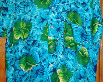 Mens Vintage 50s 60s Mona Loa Hibiscus Flower Rayon Hawaiian Aloha Shirt - M - The Hana Shirt Co