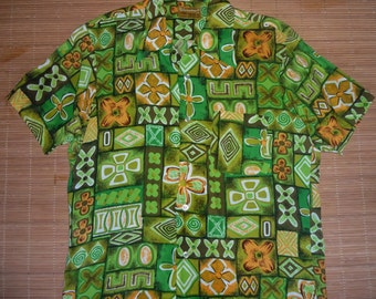 Mens Vintage 60s Kamawahanee Rayon Aloha Shirt - S - The Hana Shirt Co