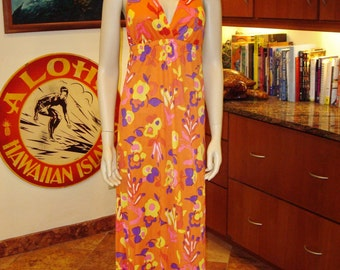 Vintage 60s Hawaiian Halter Resort Hawaiian Dress - M - The Hana Shirt Co