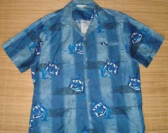 Mens Vintage 60s Tropicana Royal Crest Batik Hawaiian Aloha Shirt - L - The Hana Shirt Co