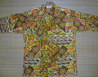 Mens Vintage 60s Paradise Hawaii BoHo Tribal Tiki Hawaiian Shirt - L - The Hana Shirt Co