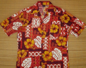 Men's Vintage 60s Towncraft Hawaiian Mod Luau Tribal Tapa Tiki Shirt - M - The Hana Shirt Co
