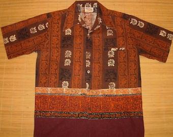 Mens Vintage Barefoot In Paradise Tribal Tiki Hawaiian Aloha Shirt - S -The Hana Shirt Co