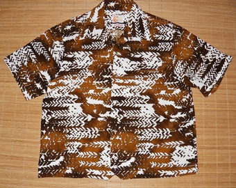 Mens Vintage 60s Iolani Hawaii Rockabilly Bowling Hawaiian Tiki Hapa Jac Shirt - L - The Hana Shirt Co