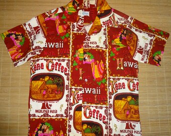 Mens Vintage 70s Kole Kole Kona Coffee Volcano Hawaiian Shirt - L - The Hana Shirt Co