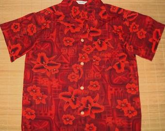Mens Vintage 60s Tribal Red Eye Hawaiian Aloha Shirt - M - The Hana Shirt Co