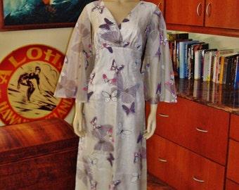 Vintage 60s Hawaiian Dress by Alfred Shaheen Long  - L - The Hana Shirt Co