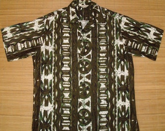 Men's Vintage 60s Tropicana Tribal Hawaiian Aloha Surf Shirt - M - The Hana Shirt Co