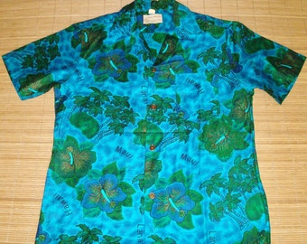 Mens Vintage 60s Royal Hawaiian Mod Floral Hawaiian Islands Aloha Shirt - M - The Hana Shirt Co