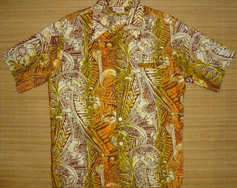 Mens Vintage 70s Barefoot in Paradise WILD CHILD Hawaiian Tiki Surf Shirt - M - The Hana Shirt Co