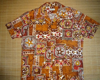 Mens Vintage 60's Hookano Tribal Hawaiian Aloha Shirt - M - The Hana Shirt Co