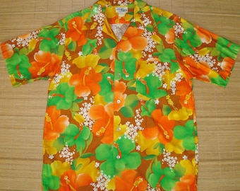 Mens Vintage 60s Neon Floral Rave Rockabilly Tiki Hawaiian Shirt - L -  The Hana Shirt Co