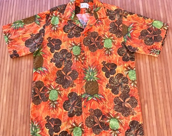 Vintage 70s Polynesian Bazaar Pineapple Hibiscus Aloha Shirt-XL-The Hana Shirt Co