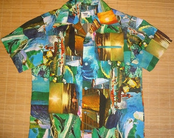 Mens Vintage 70s Pacific Isle Photo Print Surf Hawaiian Aloha Shirt - M - The Hana Shirt Co