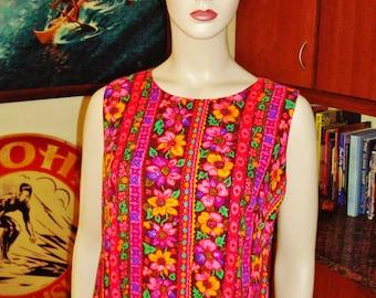 Vintage 60s Hawaiian Dress by Made in Hawaii Mod Laugh In Long  - M - The Hana Shirt Co