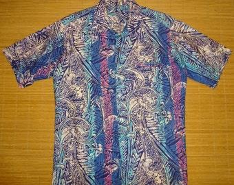 Mens Vintage 70s WILD CHILD Hawaiian Tiki Surf Shirt - M - The Hana Shirt Co