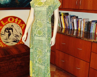 Ladies Vintage Early 50s Lauhala  Pake Sexy Wiggle MuuMuu Rockabilly Hawaiian Dress - M -  The Hana Shirt Co