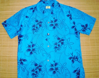 Men's Vintage 60s Ui Maikai Tropical Luau Gold Accents Hawaiian Shirt - M - The Hana Shirt Co