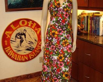 Vintage 60s Floral Halter Hawaiian Dress - S - The Hana Shirt Co