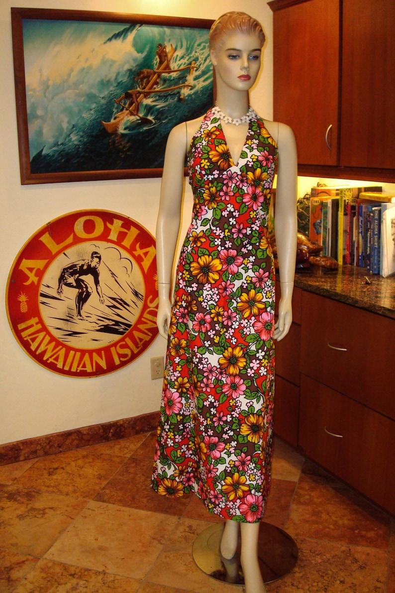 b326a1451ee33 Vintage 60s Floral Halter Hawaiian Dress S The Hana Shirt   Etsy
