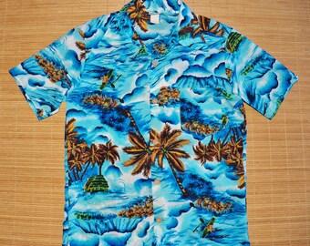 Mens Vintage 70s Hawaiian K Mart Designed & Styled in California Surfer Tiki Shirt - S -The Hana Shirt Co