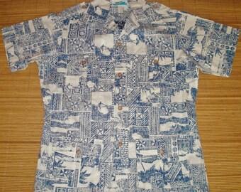 Mens Vintage 70s Hawaii 4 Pocket Belt Captains Surfing Reverse Print Hawaiian Shirt - L - The Hana Shirt Co