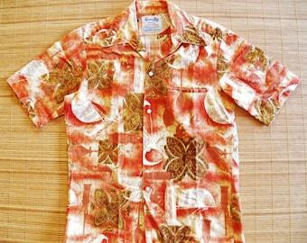 Mens Vintage 60s Keone Sportswear for Men of Action Liberty House Bark Cloth Tiki Hawaiian Shirt - S - The Hana Shirt Co