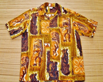 Vintage Mod 60s Go Barefoot Vintage Tiki Surf Hawaiian Shirt - L - The Hana Shirt Co