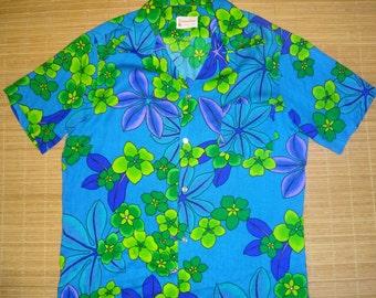 Mens Vintage 60s Neon Aloha Hawaiian Floral Shirt - L - The Hana Shirt Co