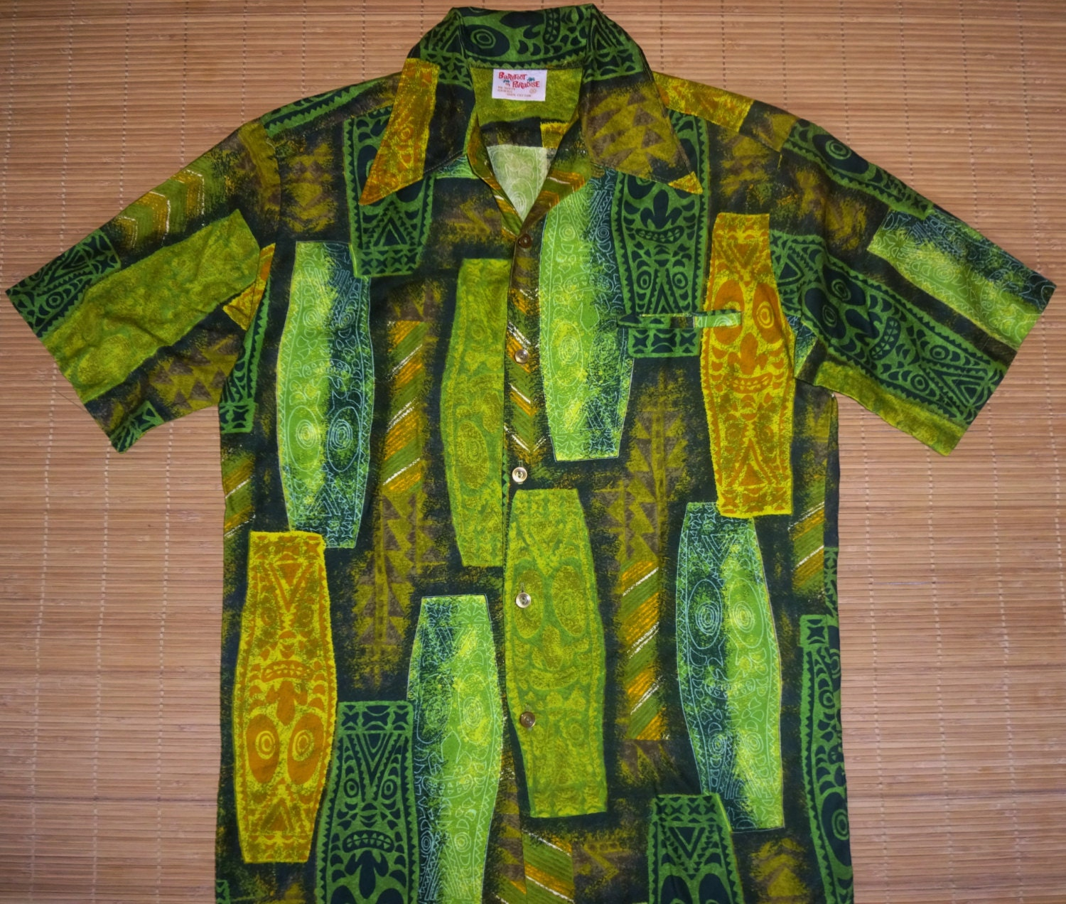 2e01103b Mens Vintage 60s Barefoot TIKI TIKI Hawaiian Aloha Shirt - S - The ...