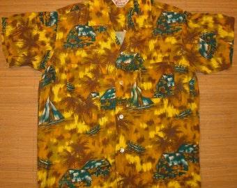 Mens Vintage 50s Riviera Rayon Island Style Hawaiian Aloha Shirt - M - The Hana Shirt Co