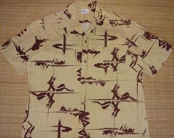 Mens Vintage 70s BJ's Fashions Surf Surfer Girls Kahanamoku Hawaiian Shirt - XL - The Hana Shirt Co